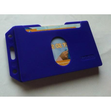 Funda horizontal azul para dos tarjetas