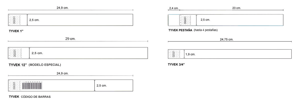 Medidas de pulseras de papel